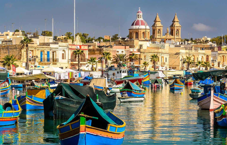 Photo wallpaper building, boats, Bay, Malta, Malta, Marsaxlokk, Marsaxlok, Marsaxlokk Bay, Malta Xlokk