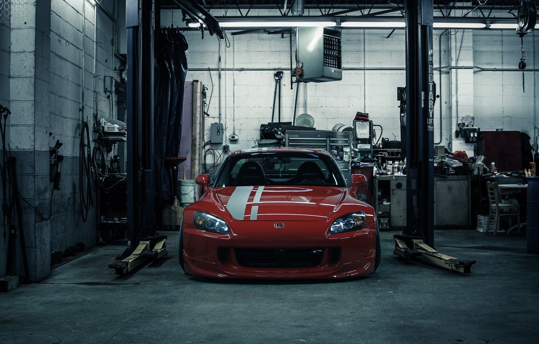 Photo wallpaper garage, honda, lift, s2000
