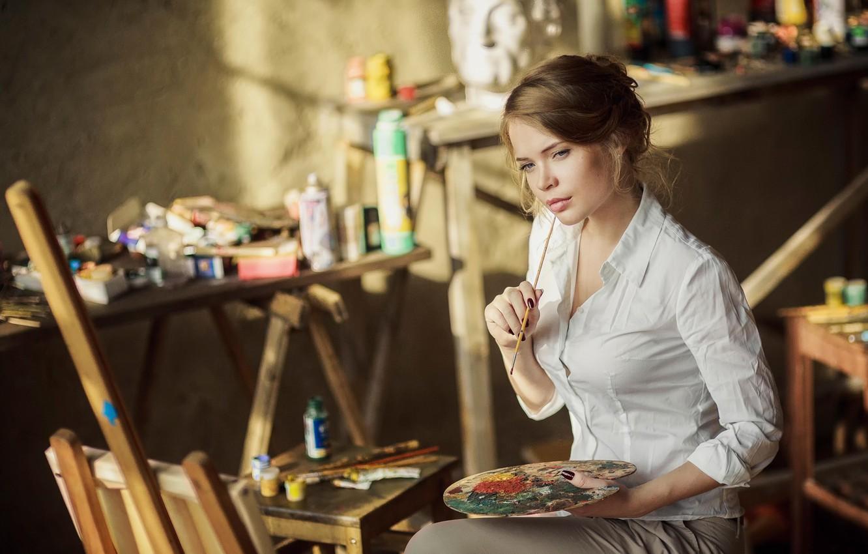 Photo wallpaper paint, artist, creativity, brush, Ksenia Palenova