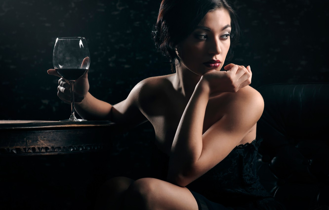 Photo wallpaper girl, dreams, makeup, a glass of wine