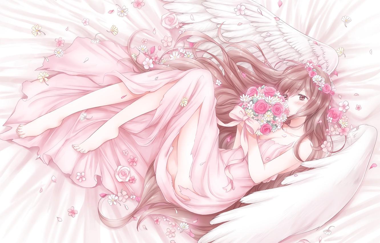 Photo wallpaper girl, angel, anime, art