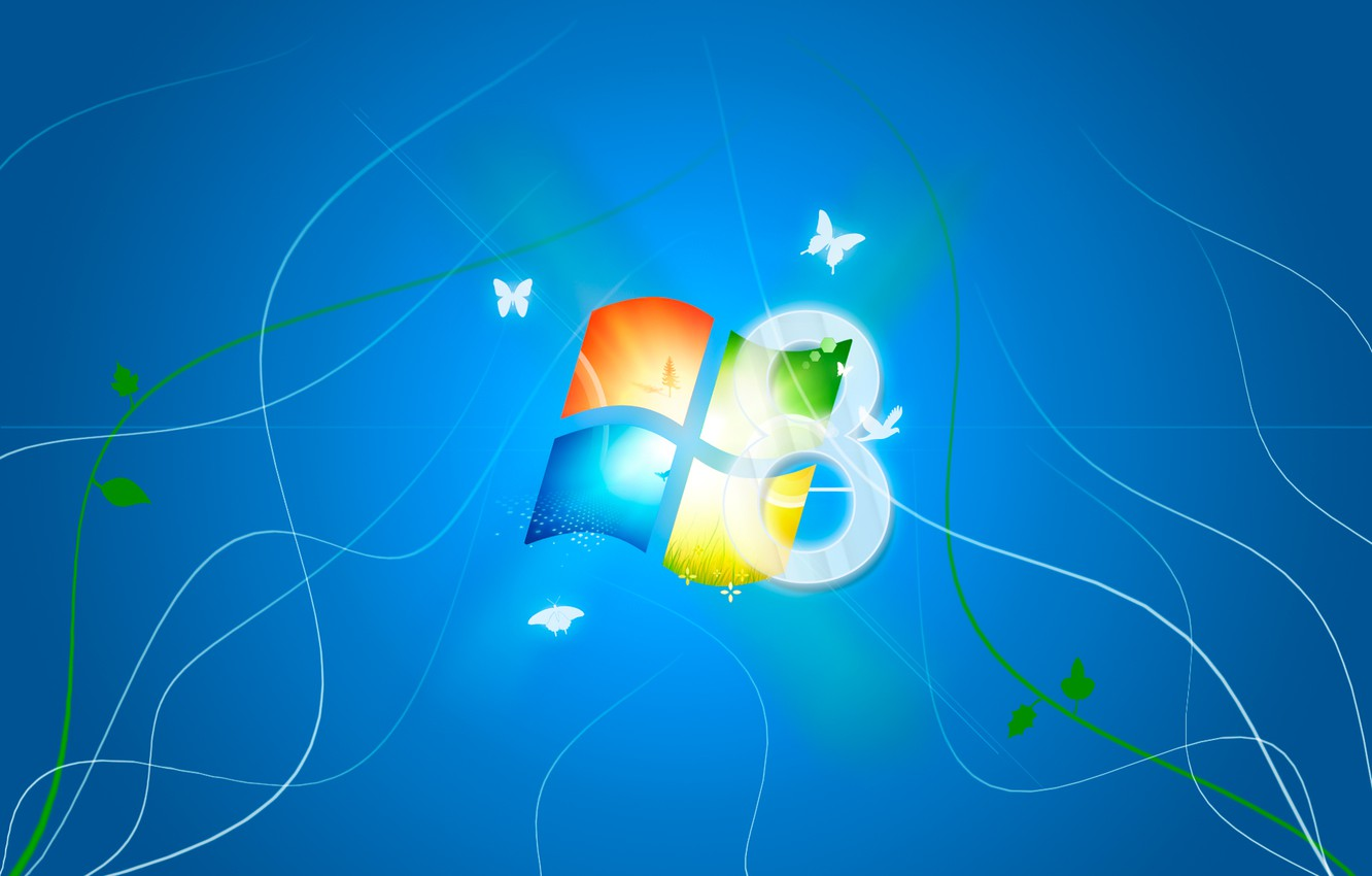 Photo wallpaper logo, Microsoft, blue background, WIndows 8