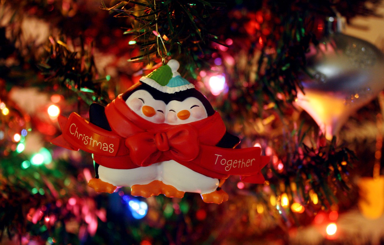 Photo wallpaper lights, mood, holiday, toys, tree, penguins, garland