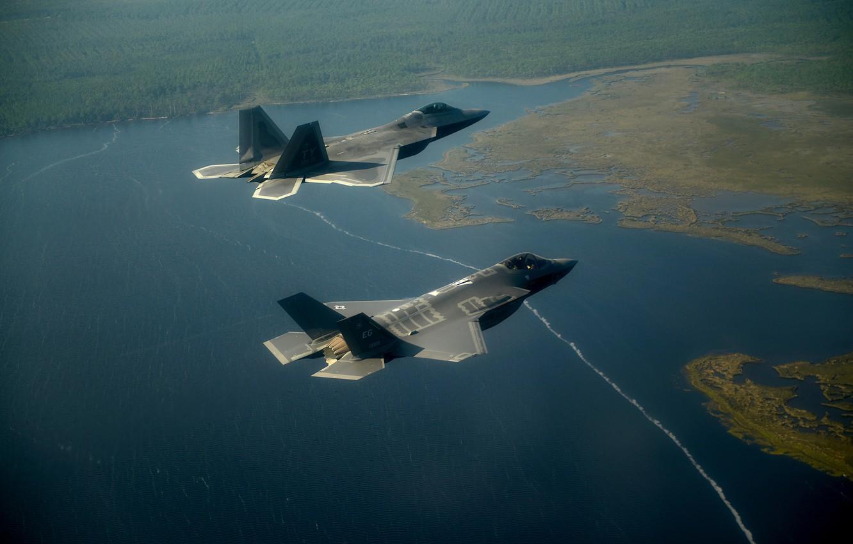 Photo wallpaper Lake, Florest, F-35A Lightning II, F-22A Raptor