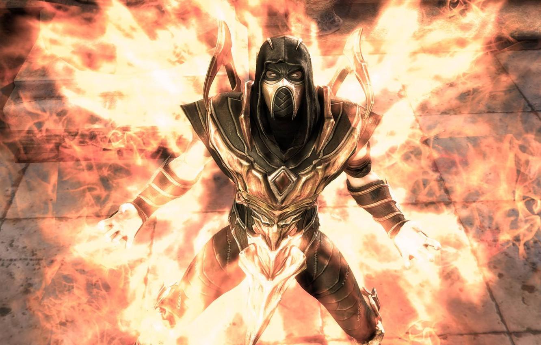 Photo wallpaper flame, Mortal Kombat, Scorpion, Injustice: Gods Among Us, DC comics