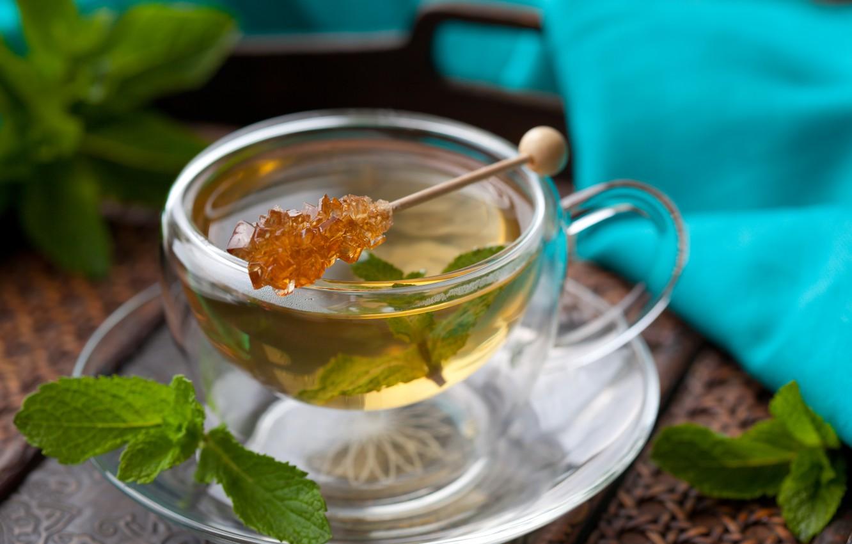 Photo wallpaper tea, Cup, sugar, wand, mint