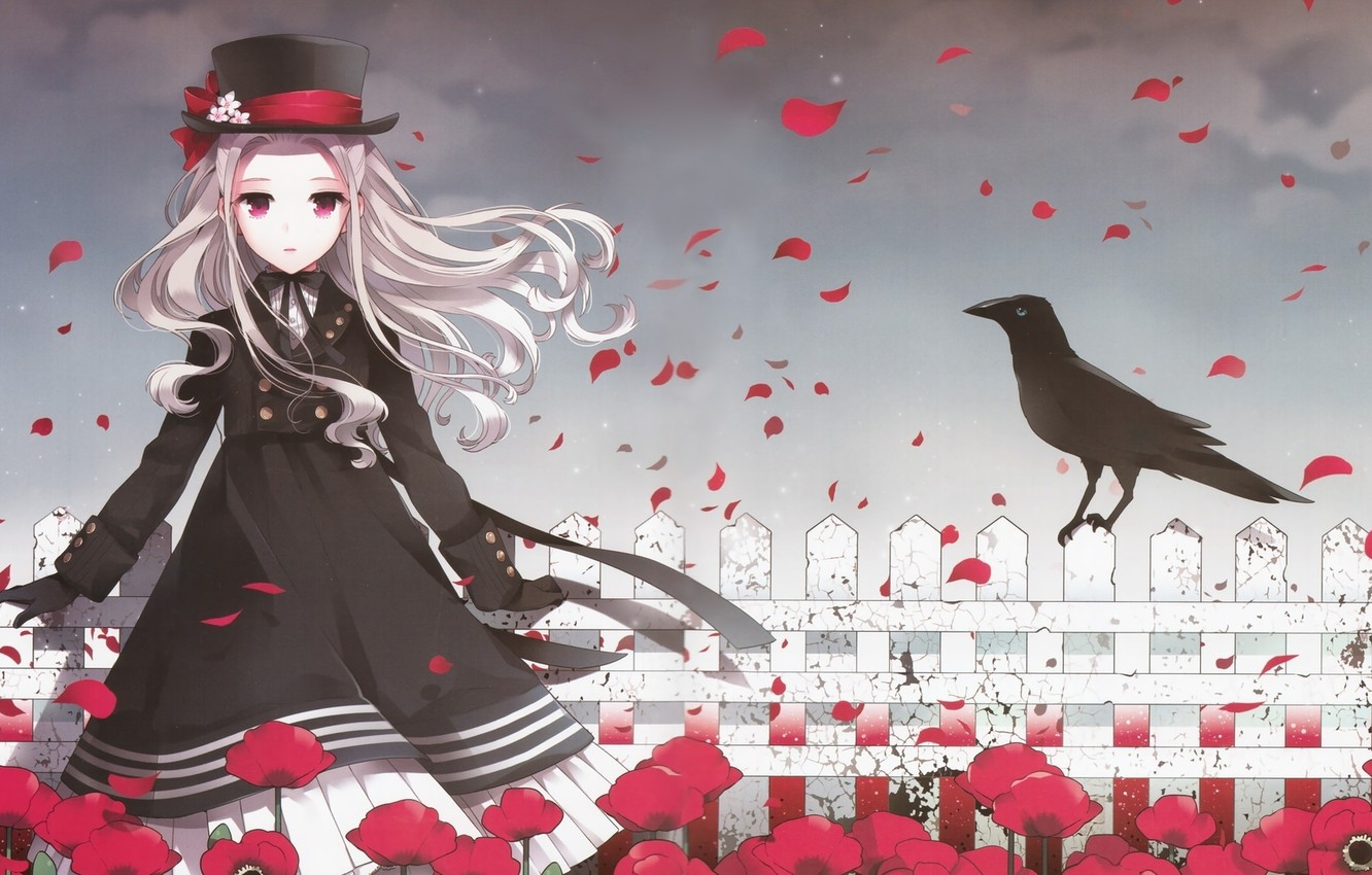 Photo wallpaper girl, flowers, the fence, crow