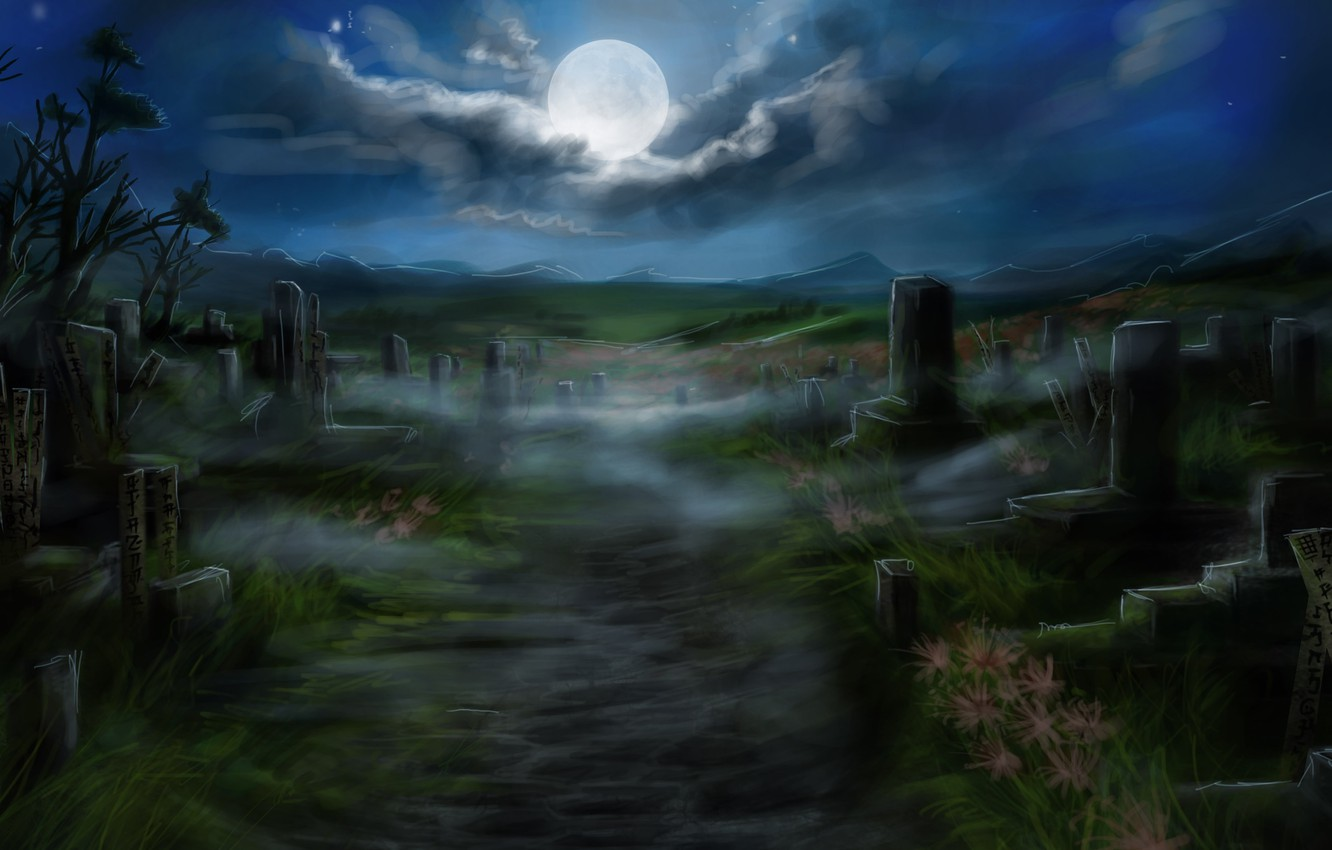 Photo wallpaper night, the moon, art, track, cemetery, plate