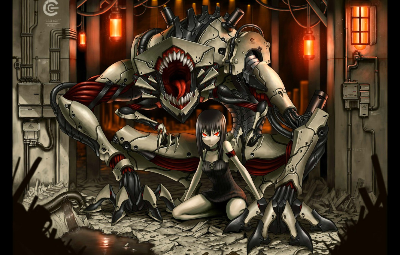 Photo wallpaper wire, robot, monster, mouth, girl, red eyes, Gia, bunker