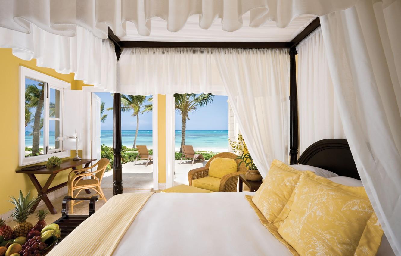 Photo wallpaper sea, landscape, Palma, heat, room, the ocean, Wallpaper, interior, chair, grapes, bananas, wallpaper, fruit, pineapple, …