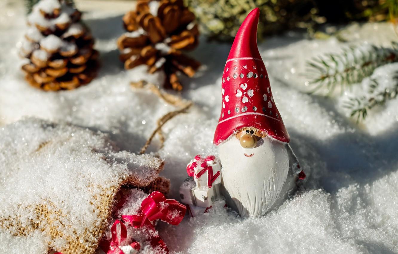 Photo wallpaper winter, forest, toy, new year, Christmas, small, gifts, beard, Santa Claus, Santa Claus, Santa, dwarf, …