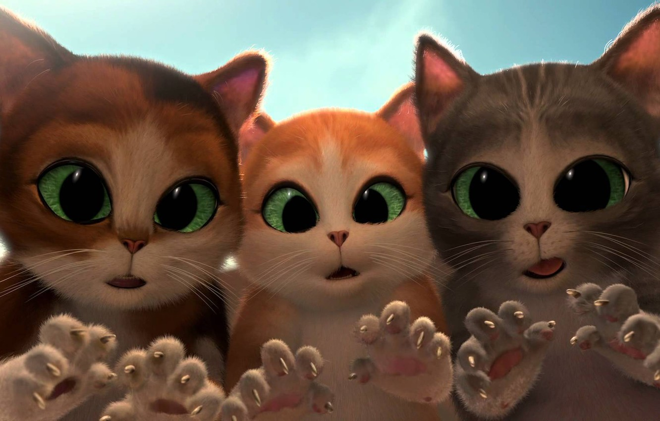 Photo wallpaper cats, cartoon, surprise, tale, kittens, claws, green eyes, cats, kittens, short film, Puss in Boots: …