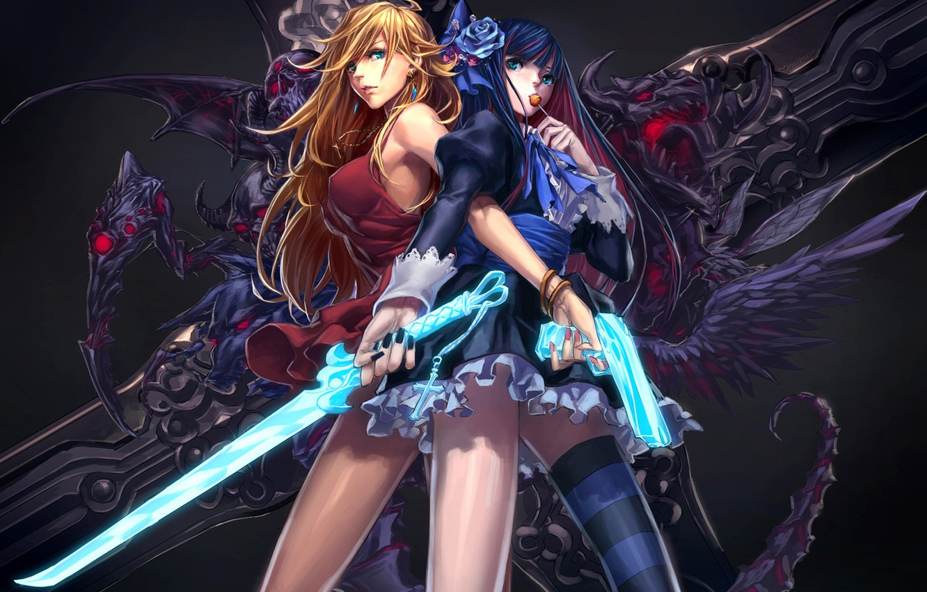 Photo wallpaper weapons, girls, rose, sword, blonde, candy, panty & stocking with garterbelt