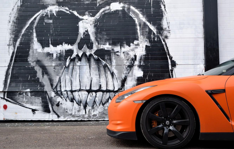 Photo wallpaper wall, graffiti, GTR, Nissan, Darth Vader, Slamzilla