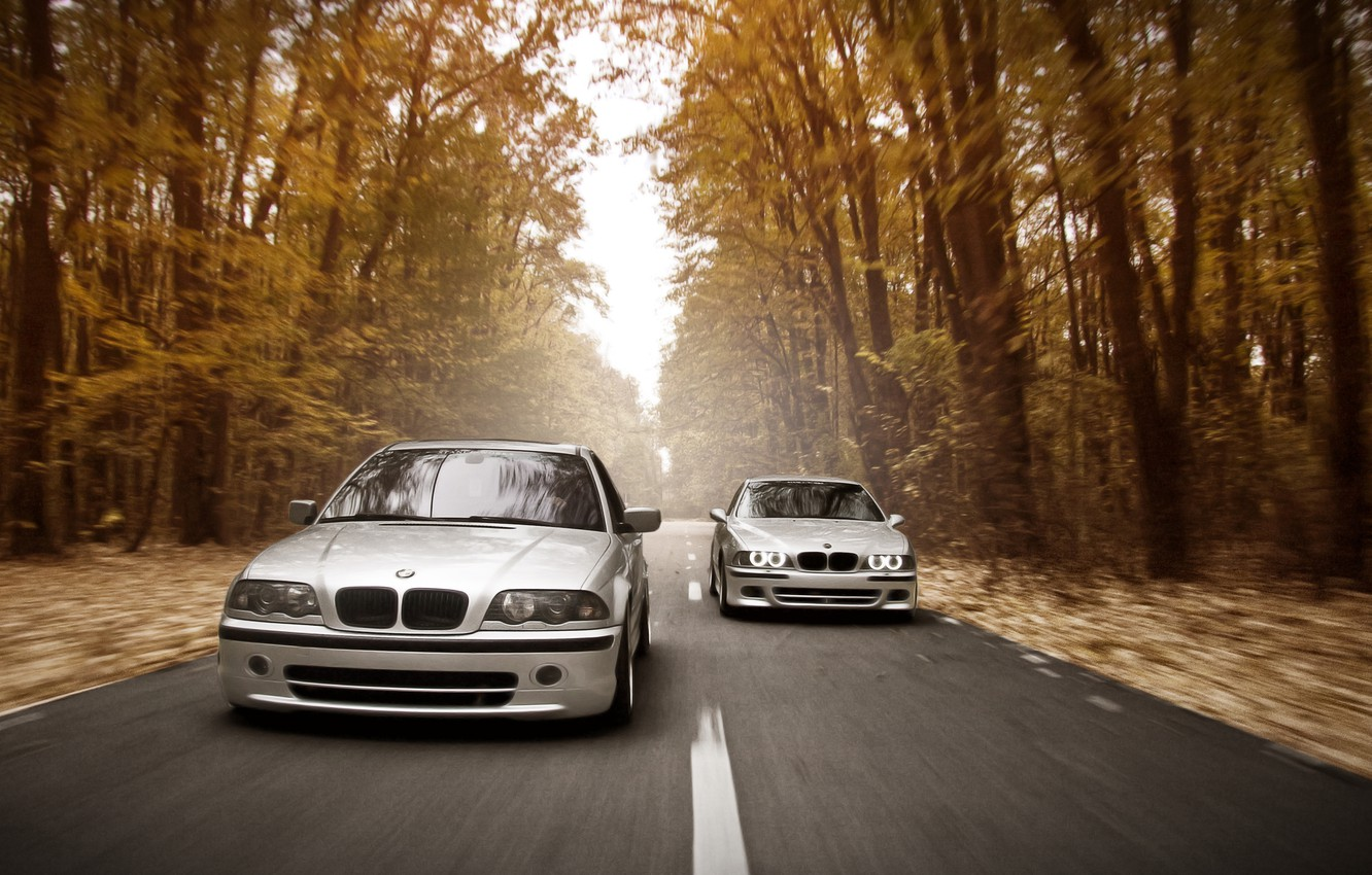 Photo wallpaper road, autumn, forest, lights, speed, BMW, E46, E39, Stance Works