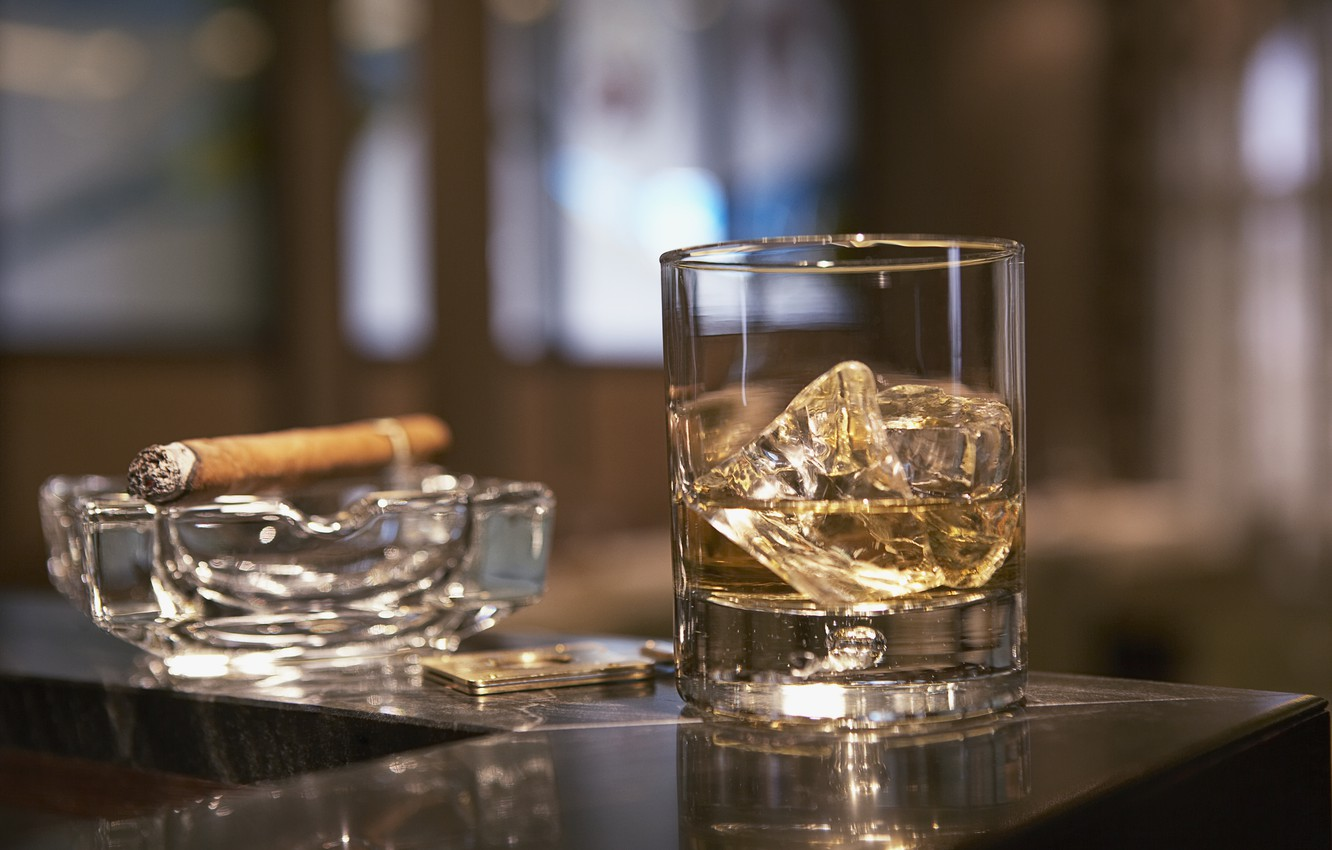 Photo wallpaper glass, ice, cigar, whiskey, ashtray, stand