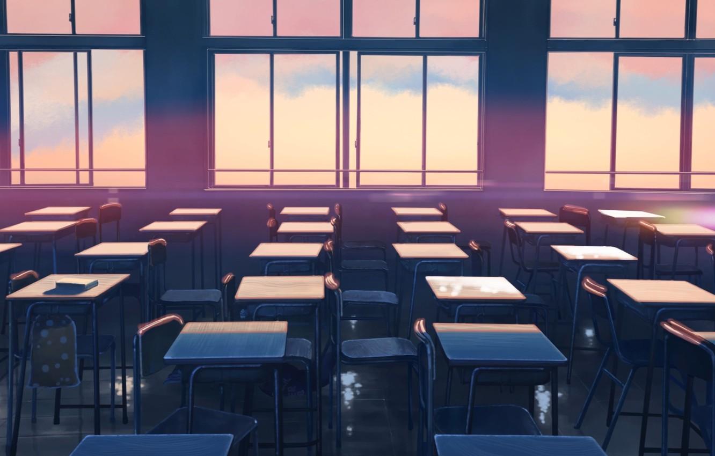 Photo wallpaper Sunset, Windows, Windows, Anime, Makoto Xingkai, Anime, Sunset, Class, Chairs, Chairs, Class, The Garden Of …