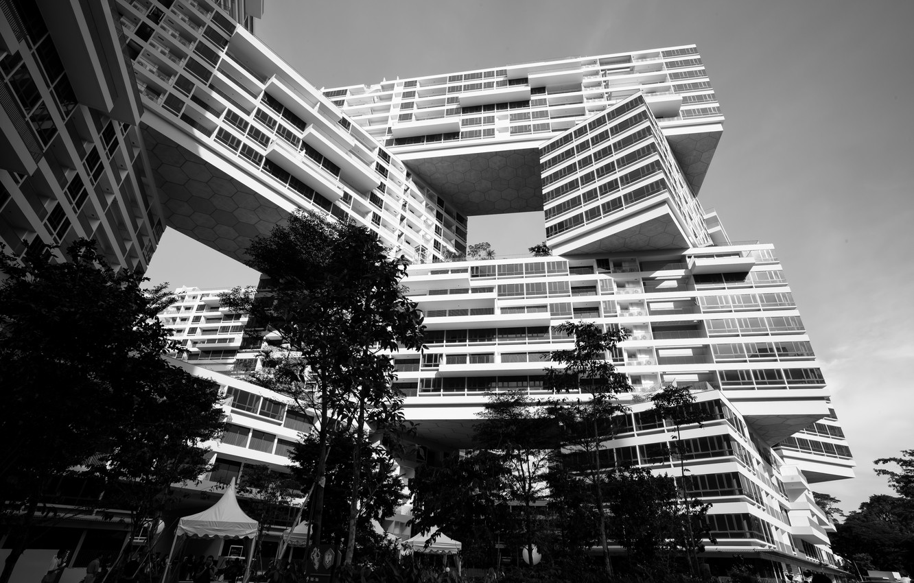 Photo wallpaper island singapore black and white building asia sovereign