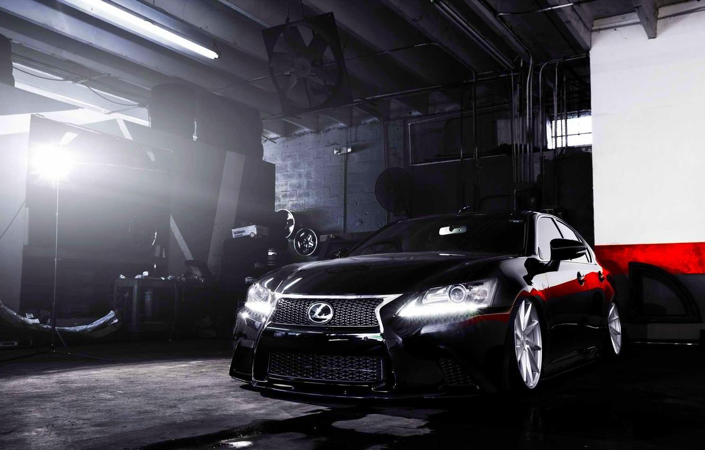 Photo wallpaper Lexus, wheels, black, vossen, frontside, GS 350