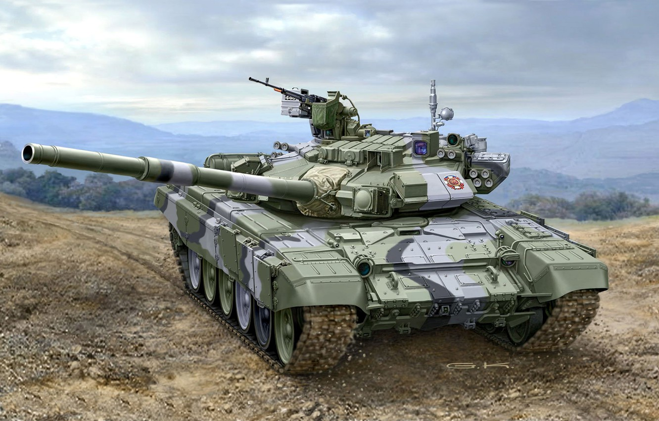 Photo wallpaper art, artist, tank, Russia, polygon, guns, exercises, weapons, Russian, NSVT, caliber, MBT, or, 125 mm, ...