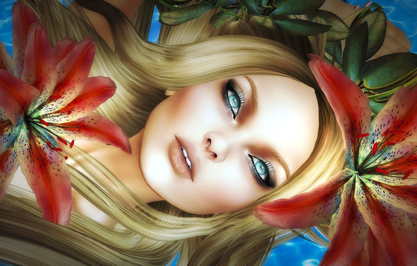 Photo wallpaper girl, flowers, face, hair, Lily