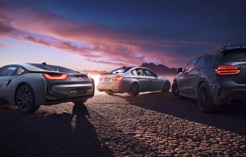 Photo wallpaper Mercedes-Benz, BMW, Cars, Sunset, GLA45 AMG, M3, i8