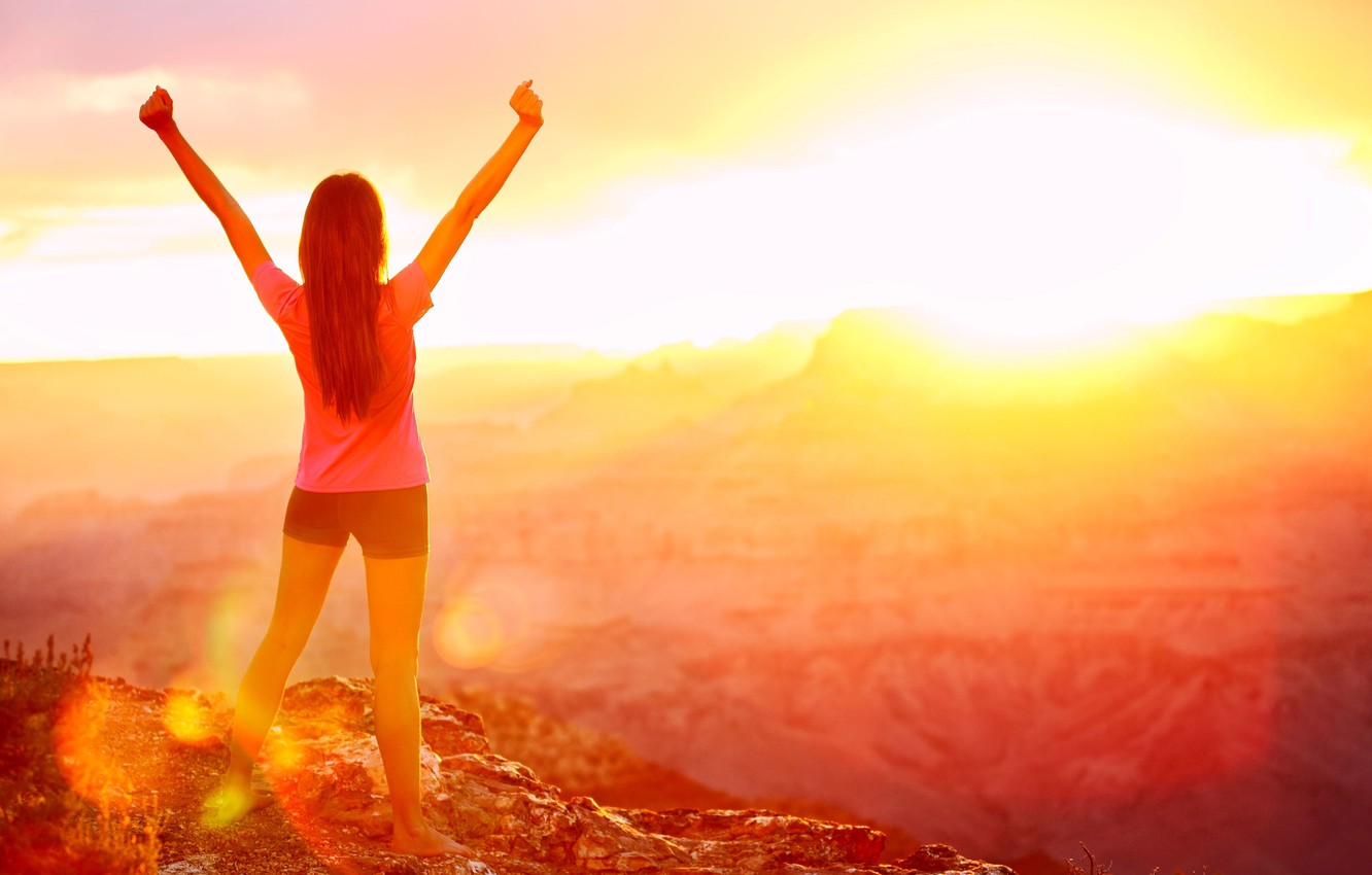 Photo wallpaper freedom, girl, the sun, nature, background, Wallpaper, mood