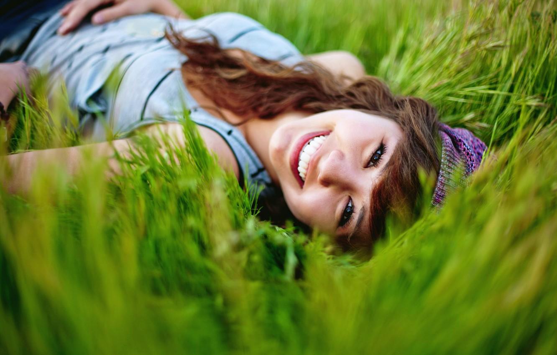 Photo wallpaper summer, grass, girl, nature, smile, mood