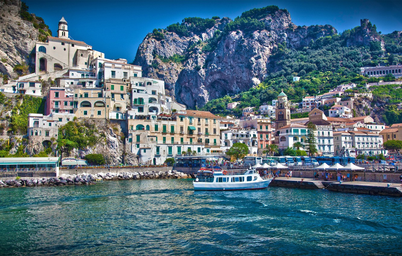 Photo wallpaper sea, wave, the sky, water, mountains, the city, boat, home, boat, Italy, italy, Amalfi, amalfi