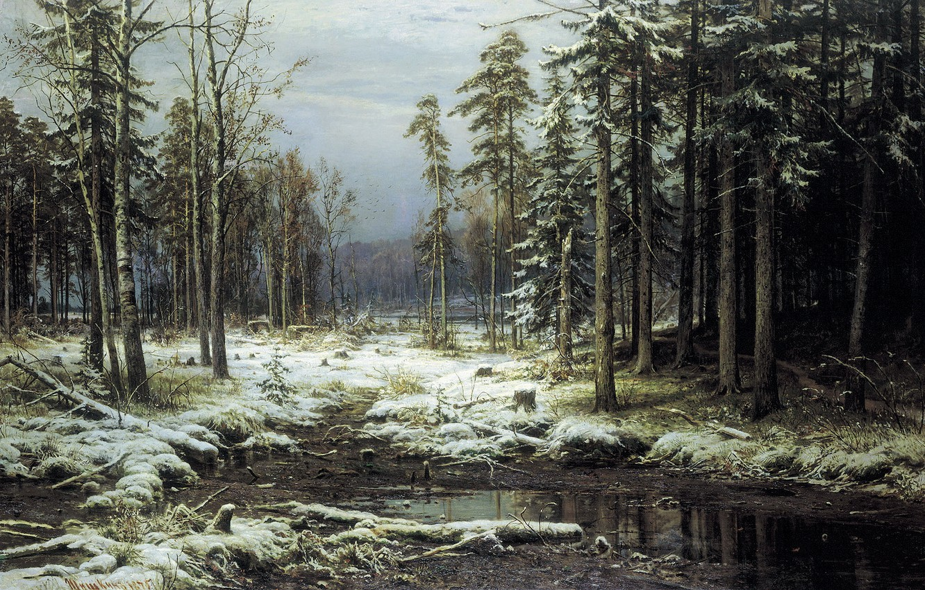 Photo wallpaper picture, Shishkin, The first snow