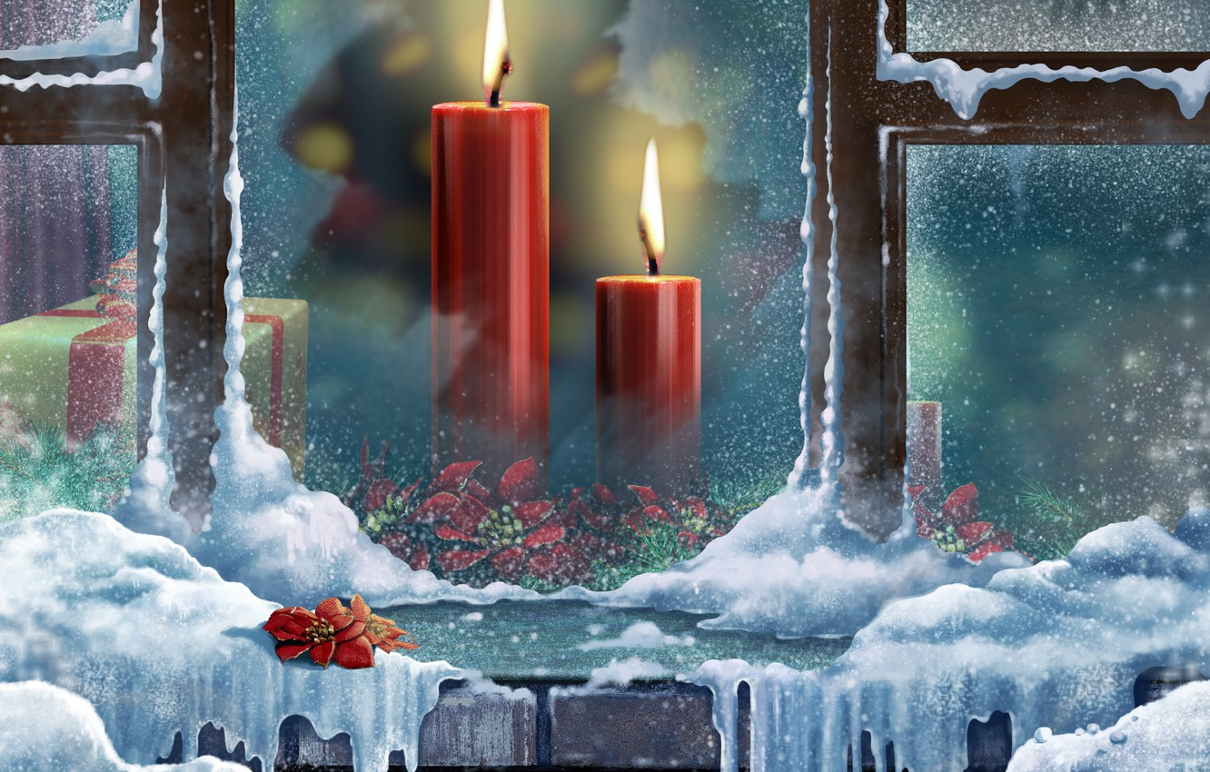 Photo wallpaper color, snow, flowers, box, gift, sweetheart, winter, Windows, beauty, colors, candles, colorful, beautiful, Happy New …