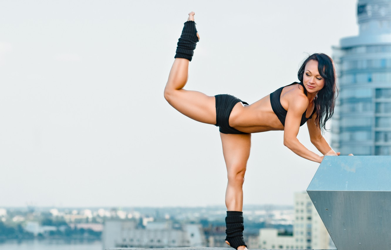 Photo wallpaper city, stretching exercises, yoga pose