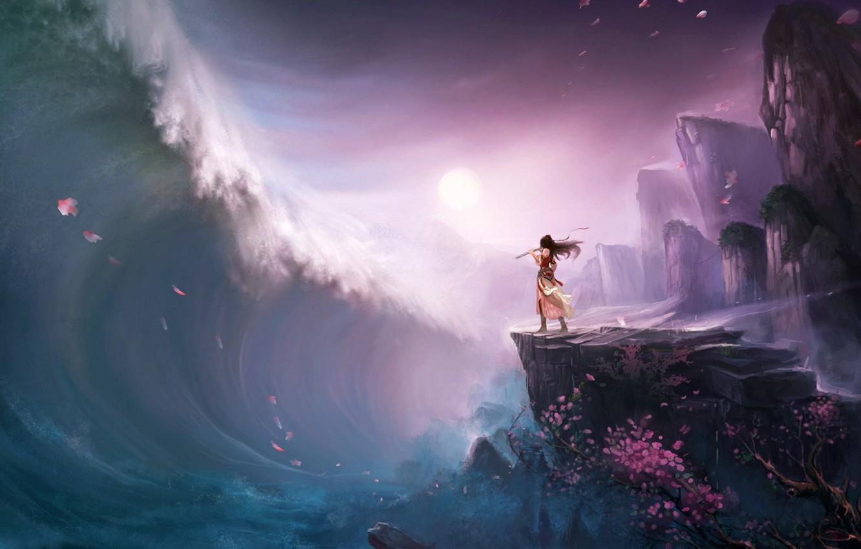 Photo wallpaper girl, tree, rocks, wave, petals, Sakura, tsunami, art, flute