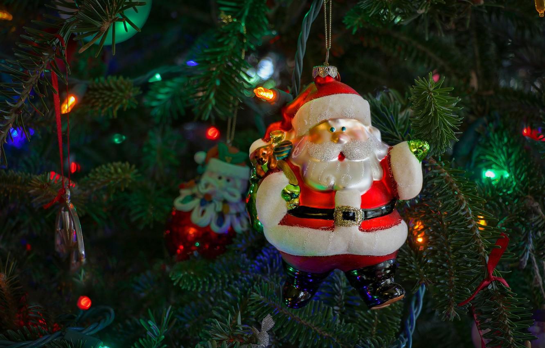 Photo wallpaper decoration, branches, holiday, toy, new year, Christmas, lights, tree, Santa Claus, Santa Claus, needles, elegant, …