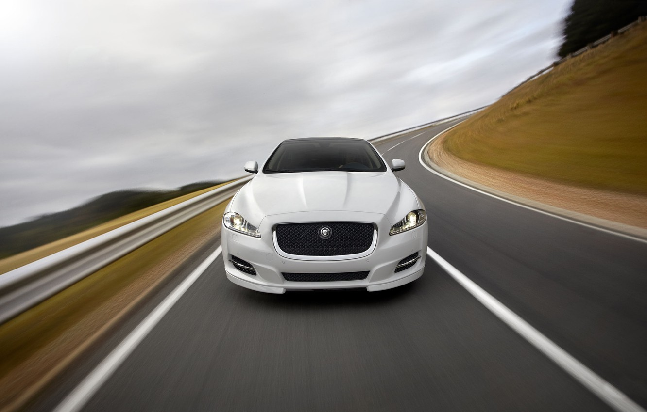 Photo wallpaper Jaguar, Road, White, Machine, Logo, The hood, The front, Blur