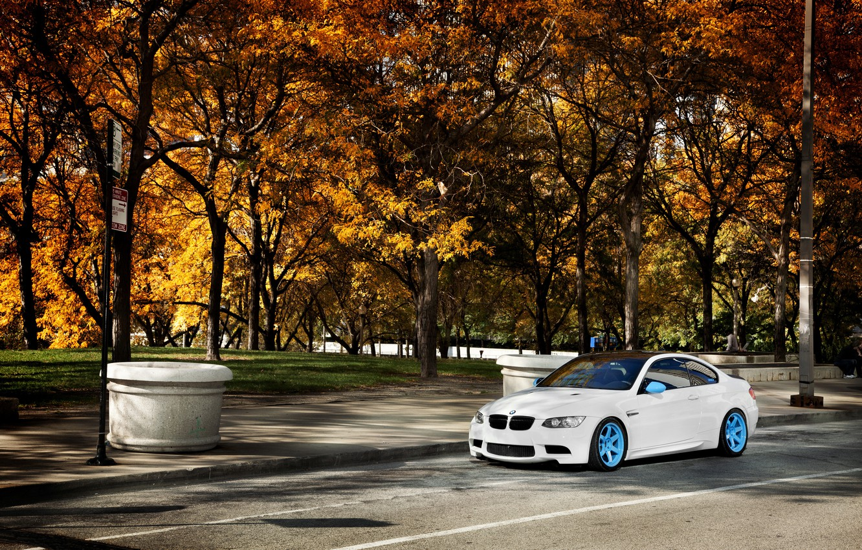 Photo wallpaper autumn, white, trees, BMW, BMW, white, E92, IND