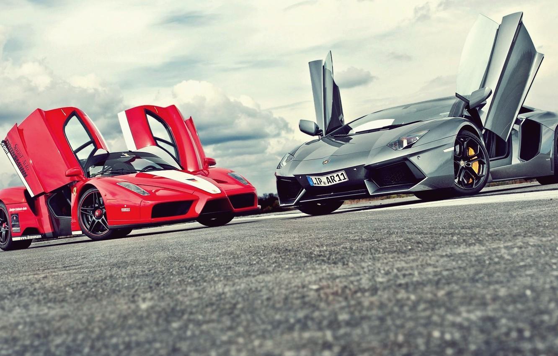 Photo wallpaper road, lights, door, ferrari enzo, hypercar, Lamborghini LP700-4 Aventador