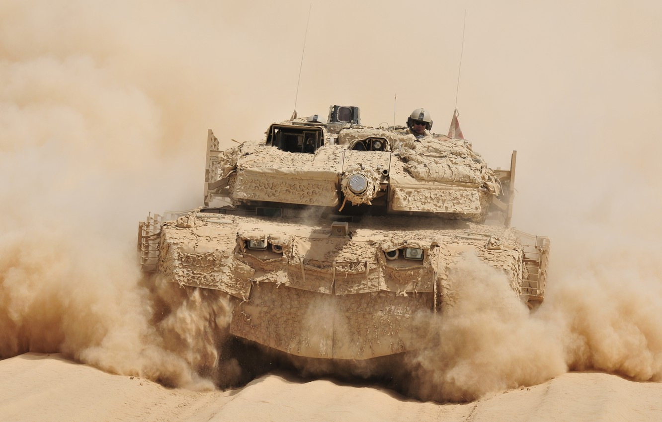 Photo wallpaper dust, tank, combat, rides, Afghanistan, German, main, Leopard 2A5 DK, VS Denmark, desert camouflage SAAB …