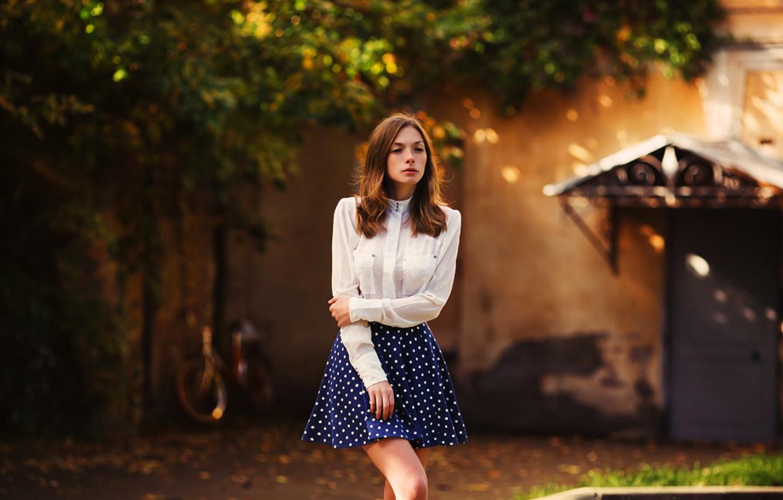Photo wallpaper Girl, Look, Model, Skirt, Legs, Sweetheart, Attractive, Olga Kobzar