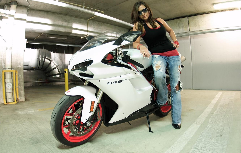 Photo wallpaper white, girl, brunette, motorcycle, girl, white, ducati, brunette, Ducati, sunglasses, 848 evo