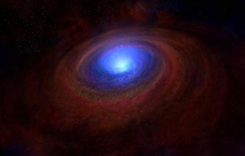 Photo wallpaper blue, galaxy, black hole