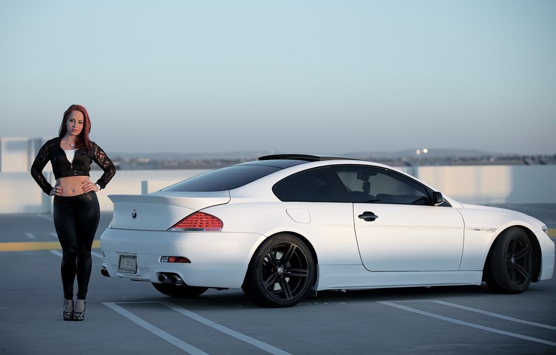 Photo wallpaper roof, white, the sky, girl, black, bmw, BMW, Parking, girl, drives, e63, black wheels