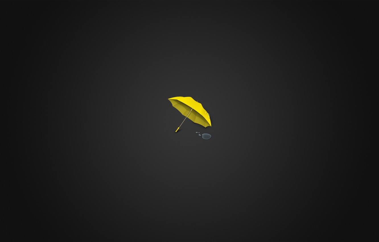 Wallpaper Yellow Umbrella Minimalism Water Drops Images For Desktop Section Minimalizm Download