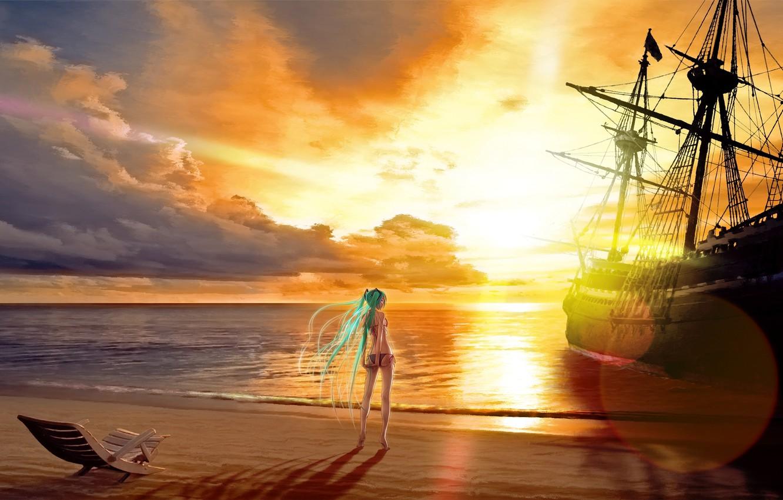 Photo wallpaper sand, sea, clouds, ship, anime, girl, sunbed, anime, Vocaloid.sunset, Mika