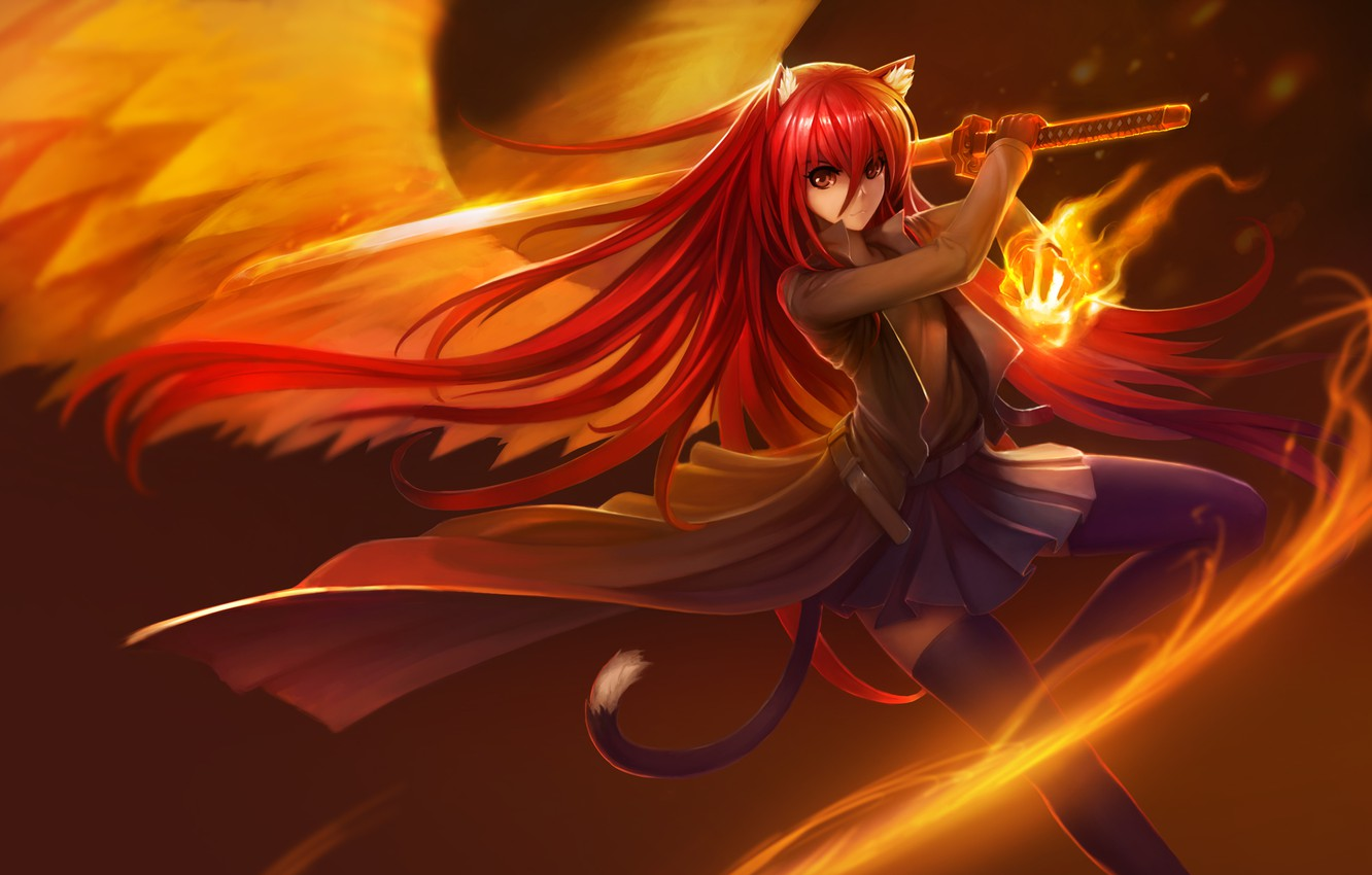 Photo wallpaper girl, weapons, fire, magic, wings, katana, anime, art, ears, Shakugan no Shana, Shana, hanshu