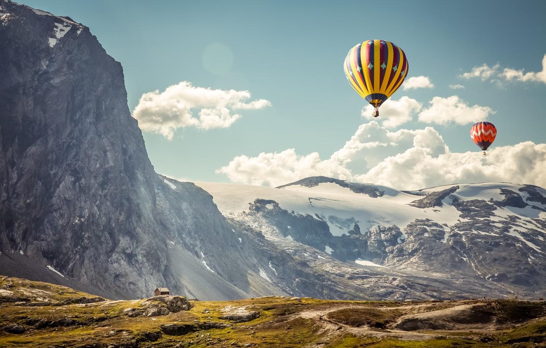Photo wallpaper the sky, landscape, mountains, balls, sport