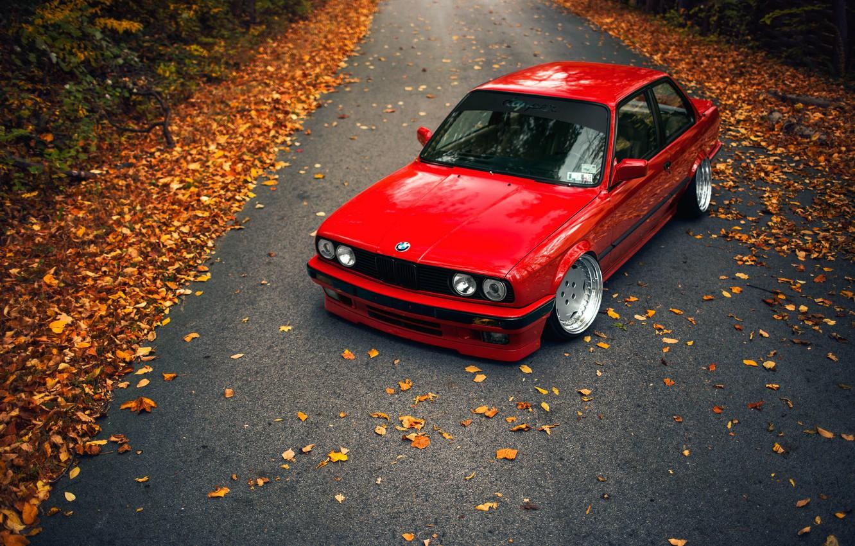 Photo wallpaper road, autumn, leaves, BMW, E30