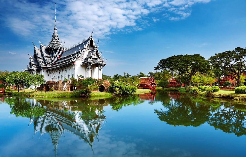 Photo wallpaper lake, houses, Palace