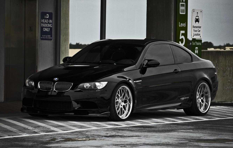 Photo wallpaper black, BMW, BMW, lift, Parking, black, E92