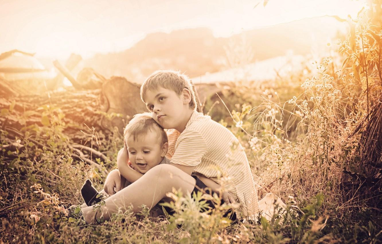 Photo wallpaper children, mood, brothers